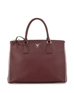 Contrast Piped Saffiano Executive Tote Bag