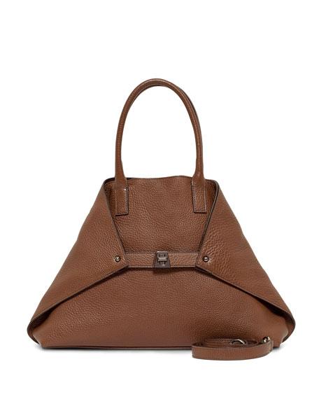 Ai Pebbled Leather Shoulder Tote Bag, Carmel