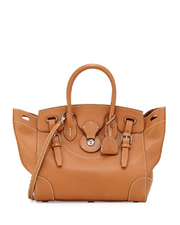 Ricky 33 Soft Calfskin Satchel Bag, Tan