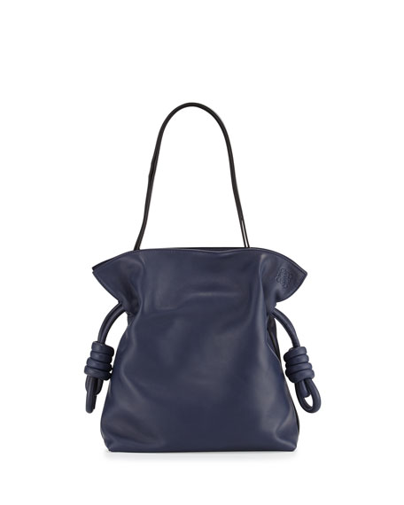 Flamenco Knot Small Bucket Bag, Navy