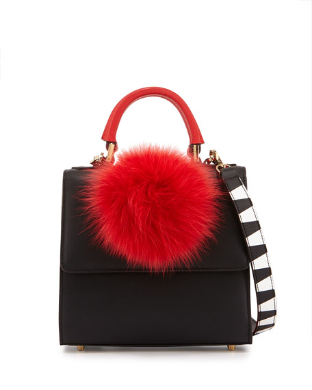 Alex Mini Leather Fur-Pom Bag, Black/Red