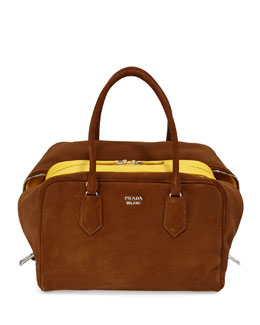 Suede Large Inside Bag, Brown