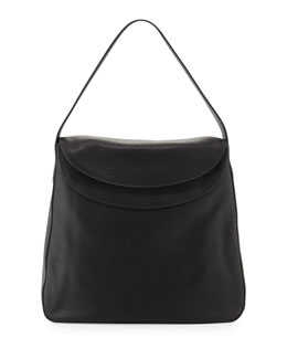 Vitello Daino Double Flap Top Leather Hobo Bag