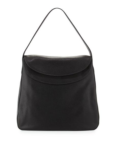 prada wristlet leather - Prada Vitello Daino Double Flap Top Leather Hobo Bag