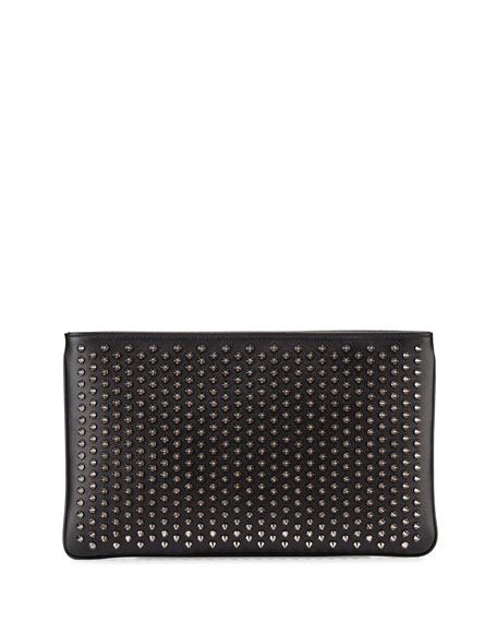 Christian Louboutin Loubiposh Spiked Clutch Bag, Black