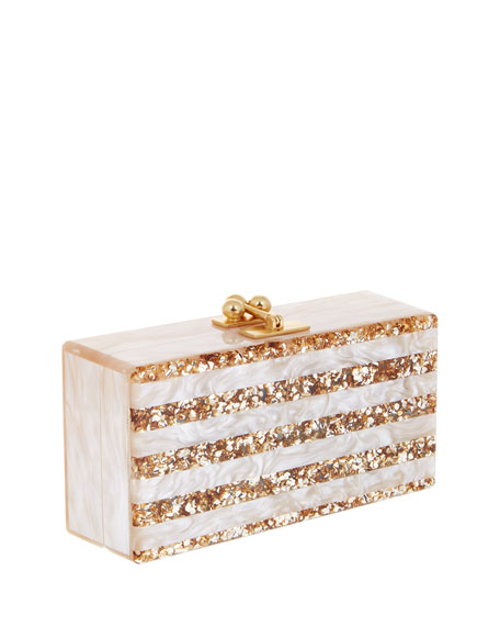 Jean Confetti-Striped Box Clutch Bag