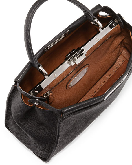 Selleria Peekaboo Medium Leather Satchel Bag, Black