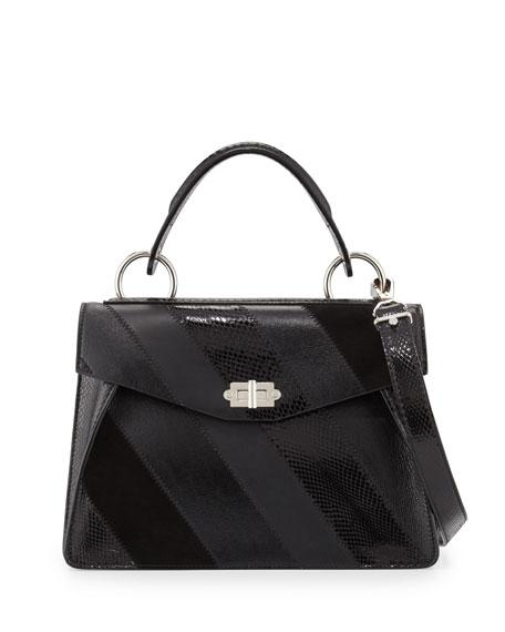Hava Medium Striped Top-Handle Satchel Bag, Black