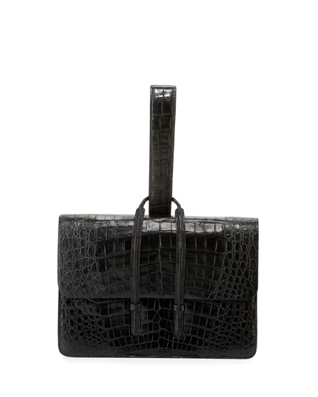 Crocodile Looped Clutch Bag w/Wristlet Strap