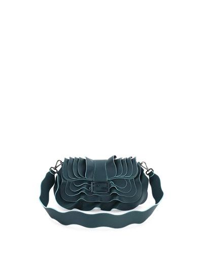 Baguette Wave Leather Bag, Dark Green