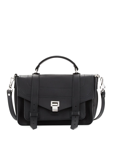 PS1 Medium Leather Satchel Bag, Black