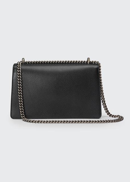 Dionysus Pebbled Leather Shoulder Bag, Black
