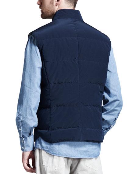 Microfiber Snap Vest, Navy
