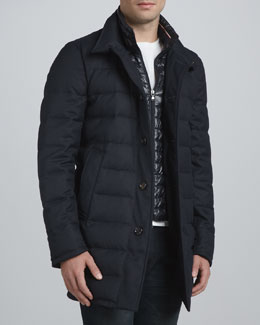 Moncler Vallier Topcoat, Navy