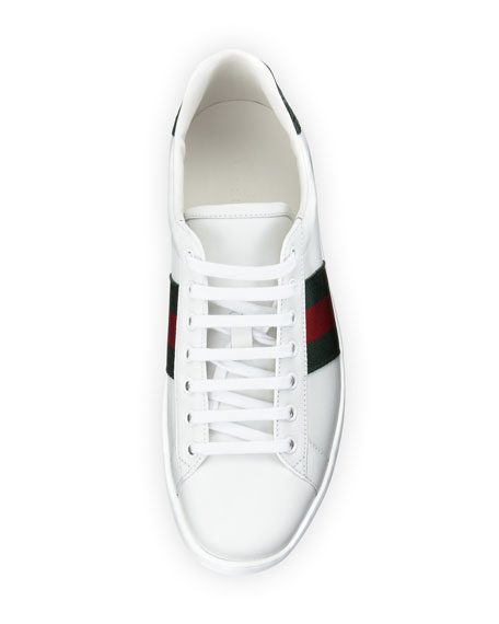 Men's New Ace Leather Low-Top Sneakers, White/Red/Green