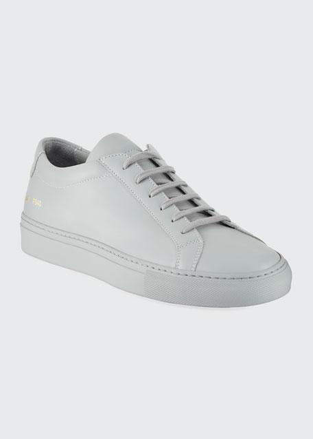 Men's Achilles Leather Low-Top, Gray