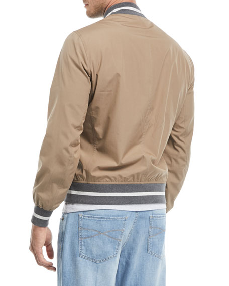 Contrast-Trim Cotton Bomber Jacket