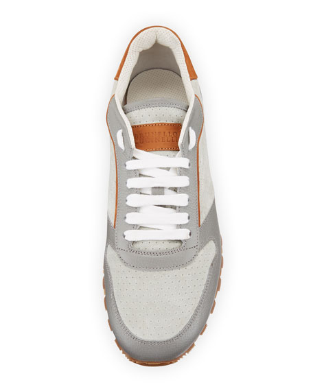 Men's Suede & Leather Trainer Sneakers