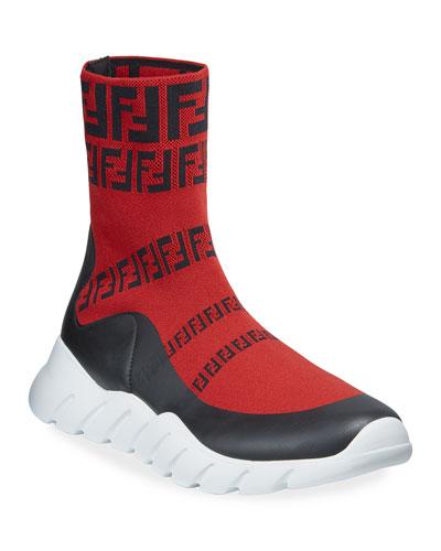Men's FF Print Sock Boot Sneakers  Red