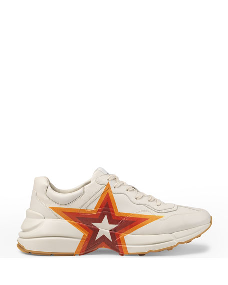 Men's Rhyton GG Star Leather Sneakers