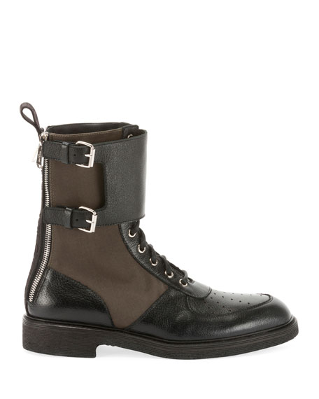 Buffalo Leather & Nylon Combat Boots