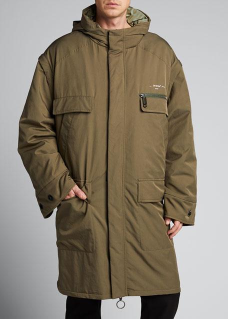 Men's Oversize Parka Coat with Detachable Sleeves