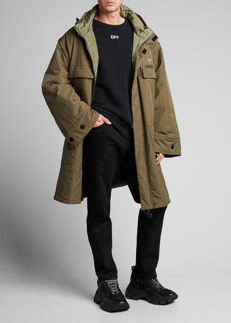 Image 1 of 1: Men's Oversize Parka Coat with Detachable Sleeves