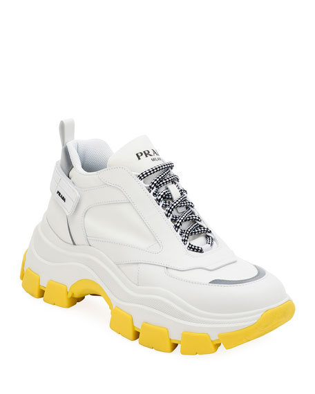 Image 1 of 1: Men's Pegasus Nylon & Leather Chunky Sneakers