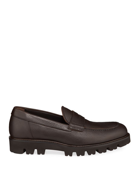 Men's Comrade Leather Lug-Sole Penny Loafers