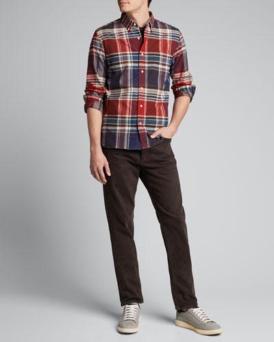 Men's Big-Check Flannel Sport Shirt