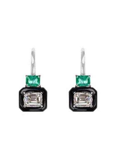 Oui 18k White Gold Black Enamel  Emerald & Emerald-Cut Diamond Earrings