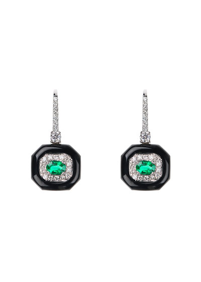 Oui 18k White Gold Black Enamel  Emerald & Diamond Drop Earrings