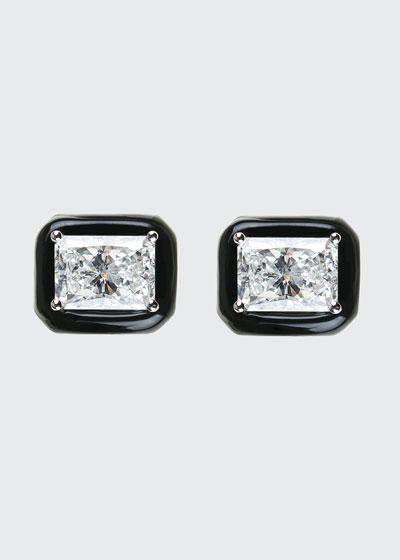 Oui 18k White Gold Black Enamel & Diamond Stud Earrings