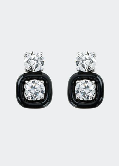 Oui 18k White Gold Black Enamel & Diamond Snowman Earrings