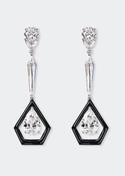 Oui 18k White Gold Linear Diamond & Black Enamel Earrings