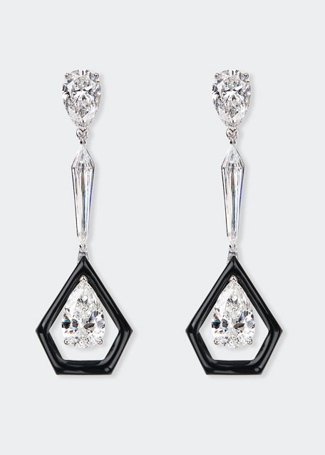 Oui 18k White Gold Linear Diamond & Black Enamel Earrings