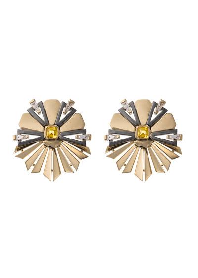 18k Gold Fame Yellow Sapphire/Diamond Fanned Earrings