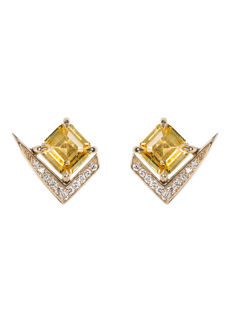 18k Gold Fame Yellow Sapphire/Diamond Stud Earrings