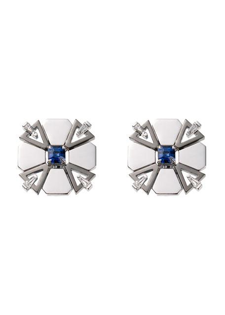18k White Gold Fame Blue Sapphire/Diamond Stud Earrings