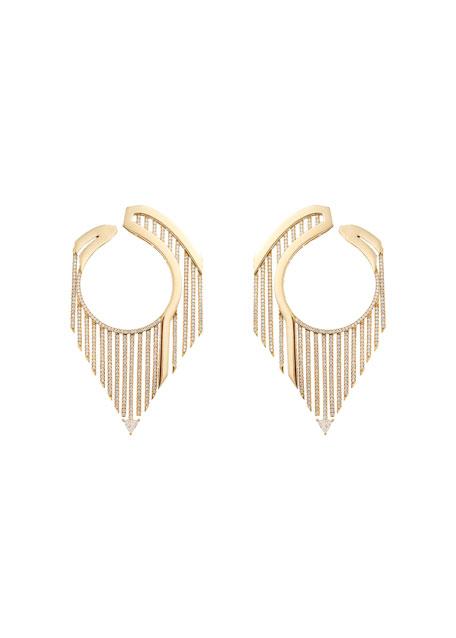 Oui 18k Diamond Circle Drop Earrings