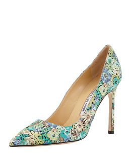 BB Floral-Print Satin Pump, Blue