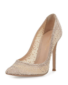 Crystal Mesh Point-Toe Pump