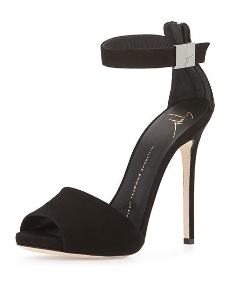Ankle-Wrap Suede Sandal