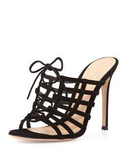 Caged Suede Mule Pump