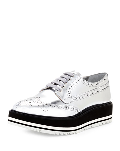 Metallic Wing-Tip Platform Loafer