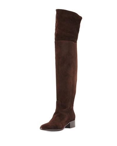 Suede Block-Heel Over-The-Knee Boot