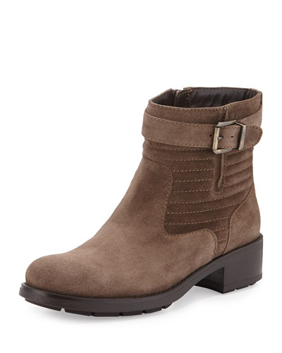 Sabel Trapunto-Stitched Suede Ankle Boot