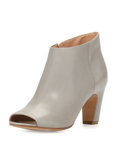 Open-Toe Leather Bootie, Gray