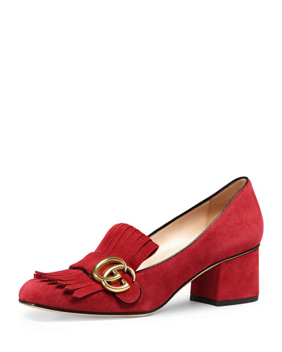 Marmont Fringe Suede 55mm Loafer Pump, Red