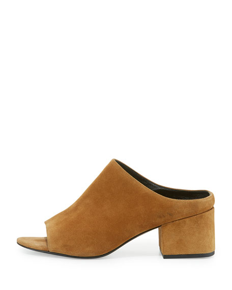 Suede Block-Heel Mule Pump, Oak